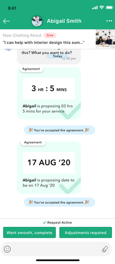 Nomos app - Messenger view