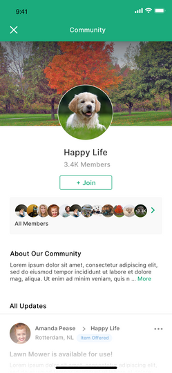 Nomos app - Community screen