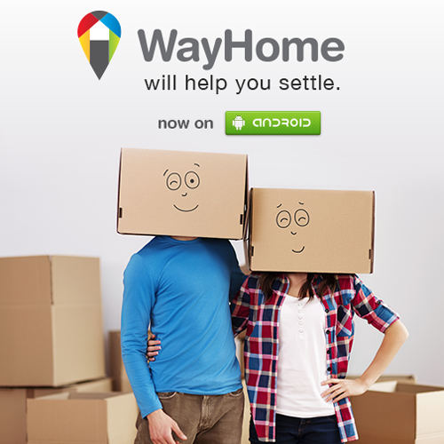 WayHome App advert man and woman standing in moving boxes