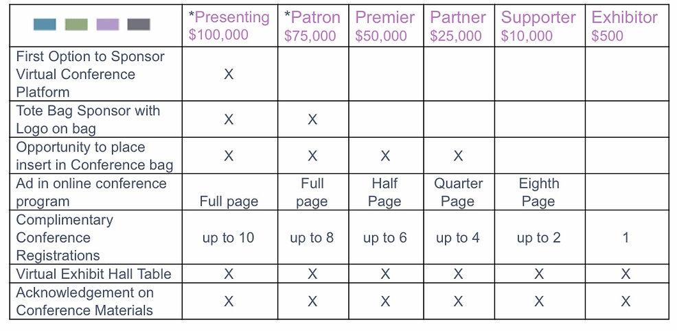 2020 Conference Sponsor Chart