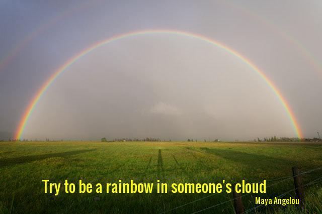 Rainbow over pasture