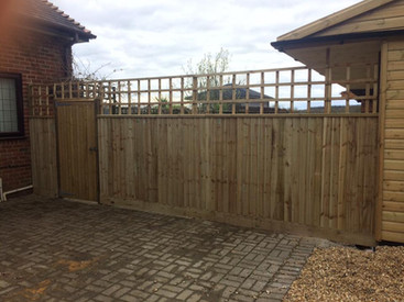 feather edge fencing with pedestrian gateway