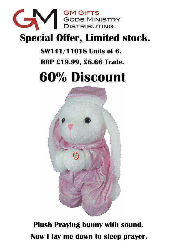 11018 sales sheet Plush praying bunny pu