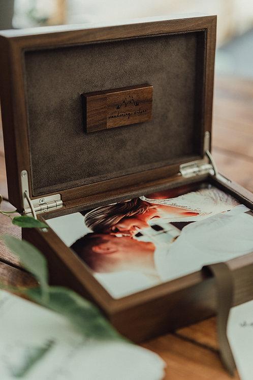 Wooden Box  & USB Drive