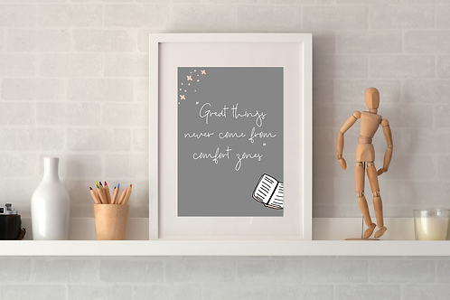 Get out your comfort zone Print - Grey