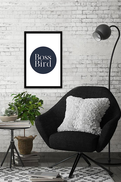 Navy Boss Bird Print