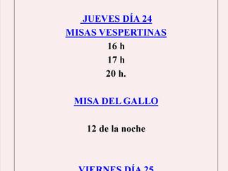 HORARIOS DE MISAS DEL DÍA DE NAVIDAD
