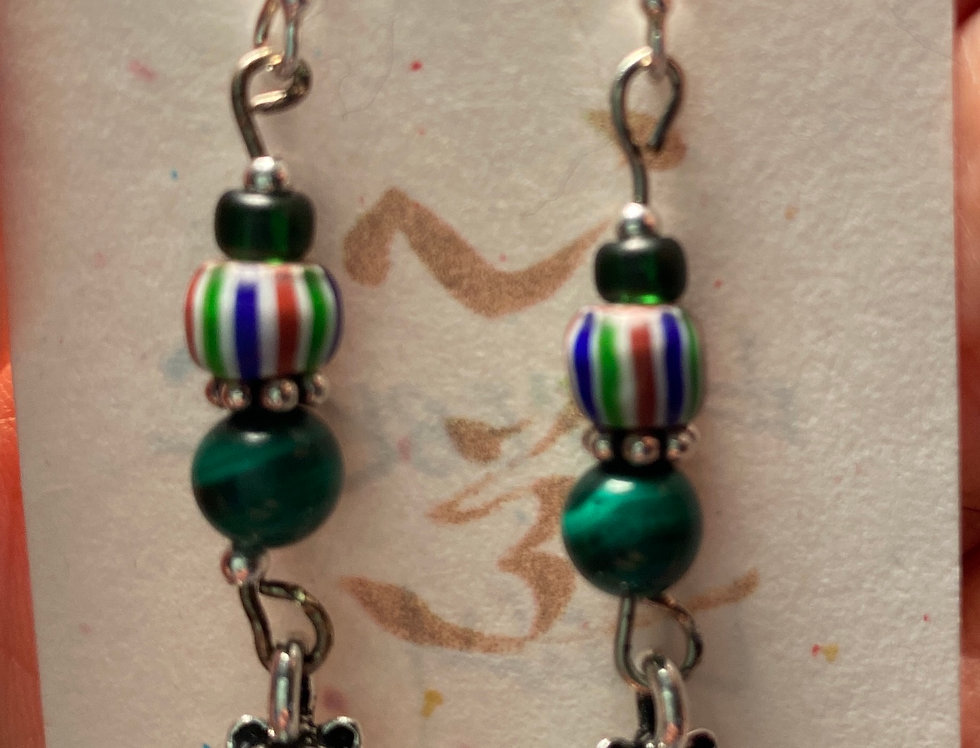 "Silver ""Lucky Cat""with Malachite Earrings"