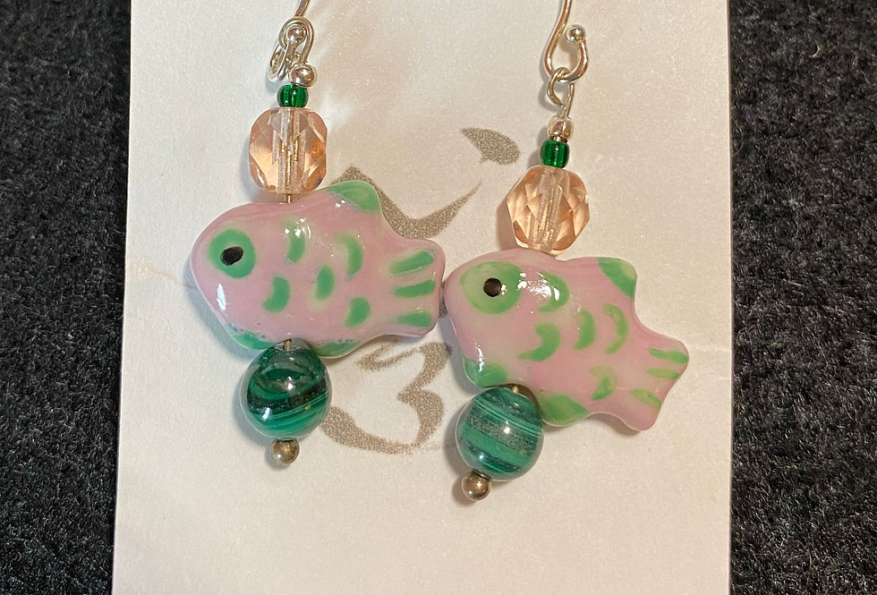 Cute Pink/Green Fish with Malachite
