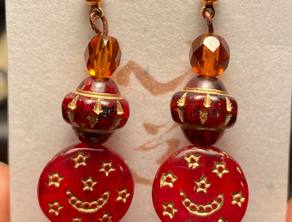 Red & Gold Painted Glass Beads