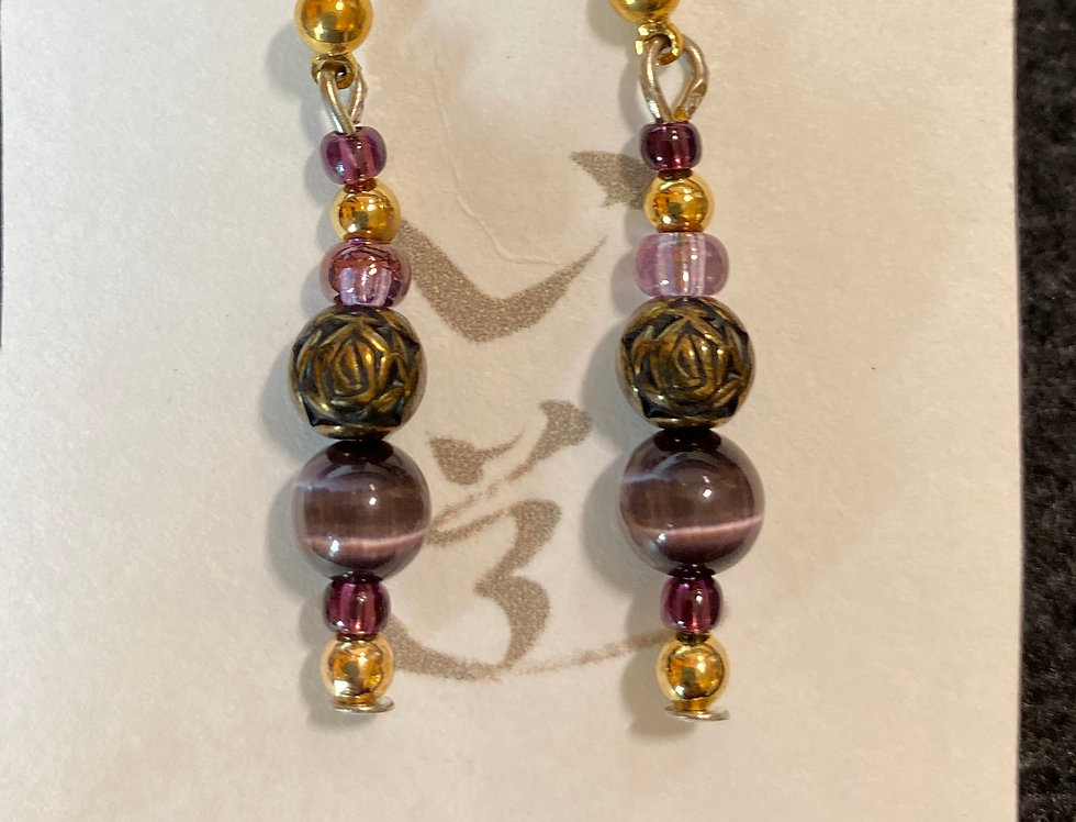 Amythest, Purple Tiger Eye & Rosary Beads