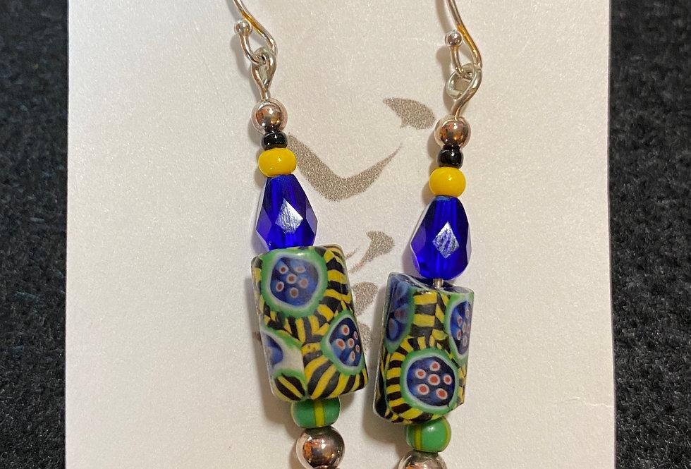 Rare Millefloré Trade Beads in Blue, Green & Yellow