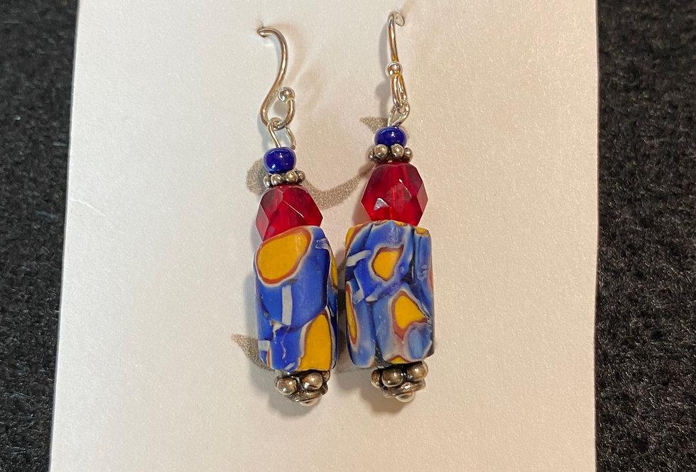 Rare Millefloré Trade Beads Blue & Red