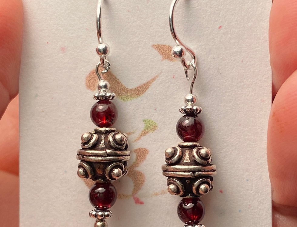 Bali Silver and Garnet Earrings