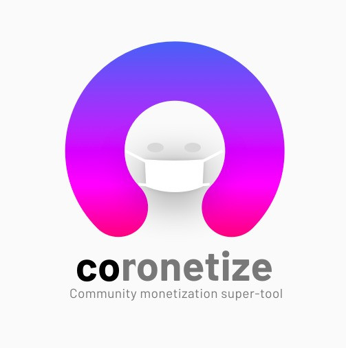 Comonetize logo with a corona mask