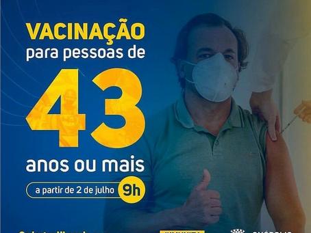 Prefeitura de Anápolis abre vacinação para pessoas acima de 43 anos