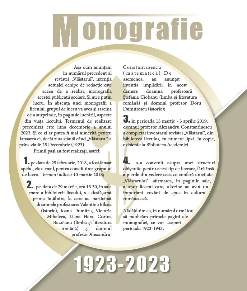 "S-A DAT STARTUL MONOGRAFIEI REVISTEI ""VLĂSTARUL""!"