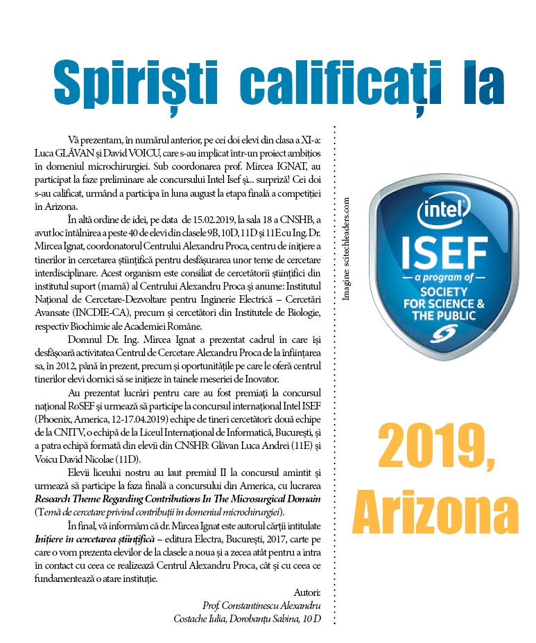 SPIRIȘTI CALIFICAȚI LA  INTEL-ISEF, PHOENIX, ARIZONA, 2019!
