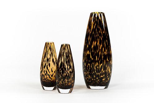 Teardrop vase amber black spotted