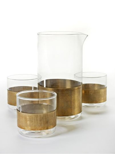 Serax - Glass & Carafe with copper ring - Niels Datema