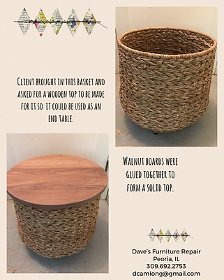 Walnut top basket end table