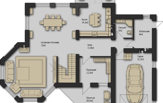 Рига Парк Шале 336m2 - Этаж 1 Вариант 1