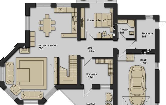 Рига Парк Шале 336m2 - Этаж 1 Вариант 2