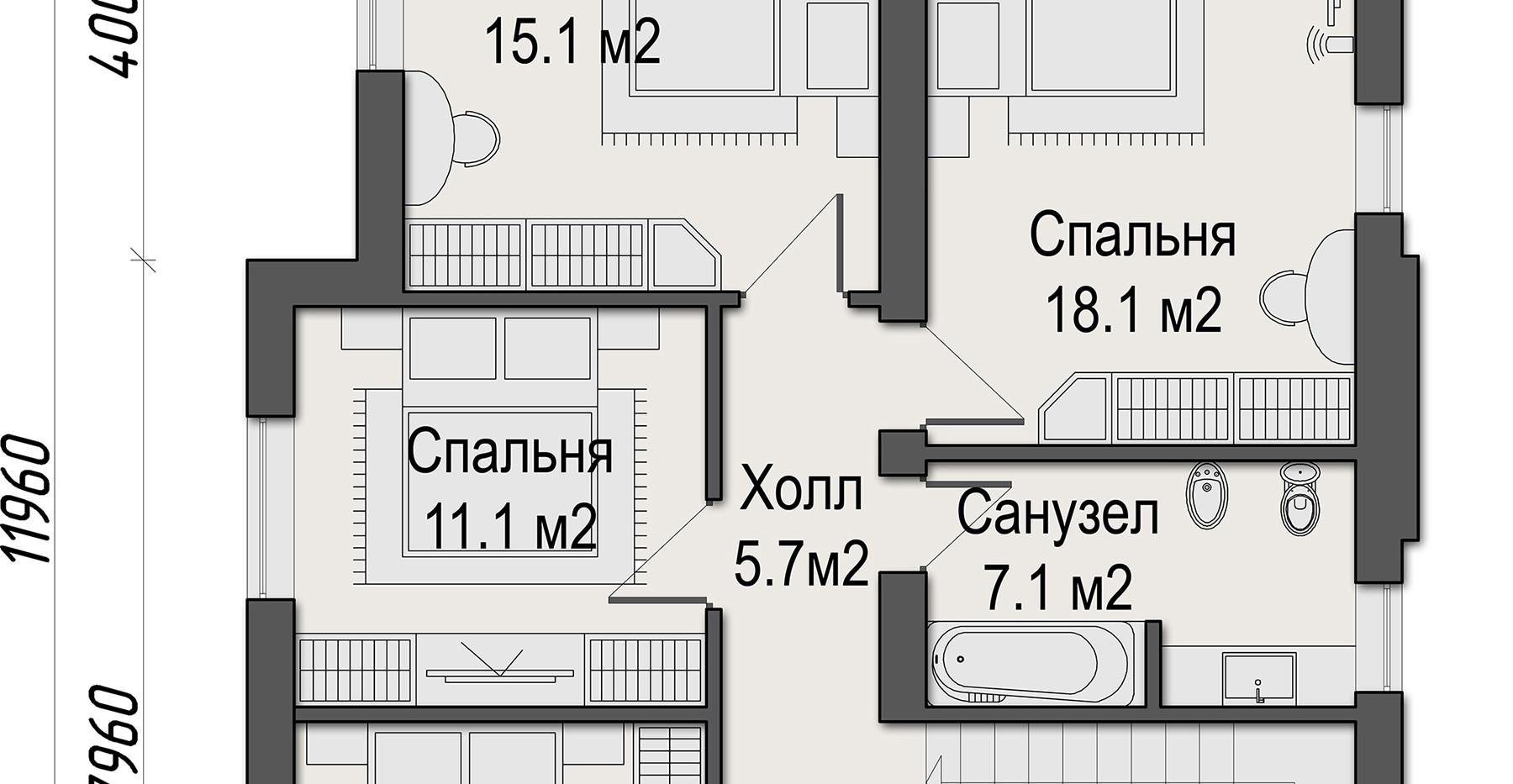 Рига Парк. Коттедж 187 кв.м. План второго этажа
