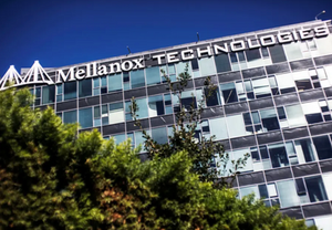The logo of Mellanox Technologies is seen on one of its office buildings in the northern Israeli town of Yokneam October 9, 2013. (photo credit: NIR ELIAS / REUTERS)