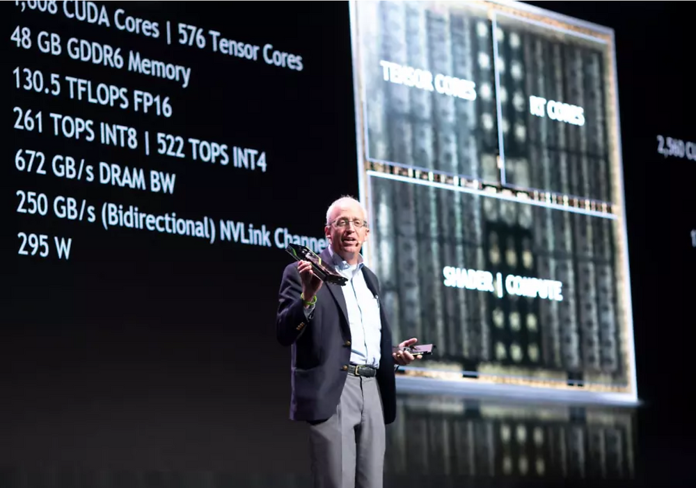 Nvidia chief scientist Bill Dally addresses the GPU Technology Conference in Tel Aviv, 18 October, 2018. (photo credit: NIR HADAR)