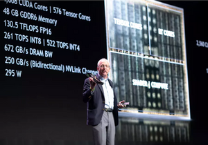 Nvidia chief scientist Bill Dally addresses the GPU Technology Conference in Tel Aviv, 18 October, 2018. (photo credit: NIR HADAR)