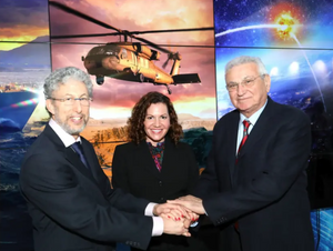 David Dolev, assistant director of MISTI and managing director of MISTI programs in Israel; Deanna Rockefeller, Lockheed Martin Global Science & Technology portfolio manager; and Joshua (Shiki) Shani, CEO of Lockheed Martin Israel. (photo credit: Courtesy)