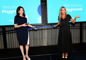 "Facebook COO Sheryl Sandberg (L) and Facebook Israel general manager Adi Soffer Teeni (R) inaugurate the company's Tel Aviv ""Playground,"" August 14, 2019. (photo credit: SIVAN FARAG)"