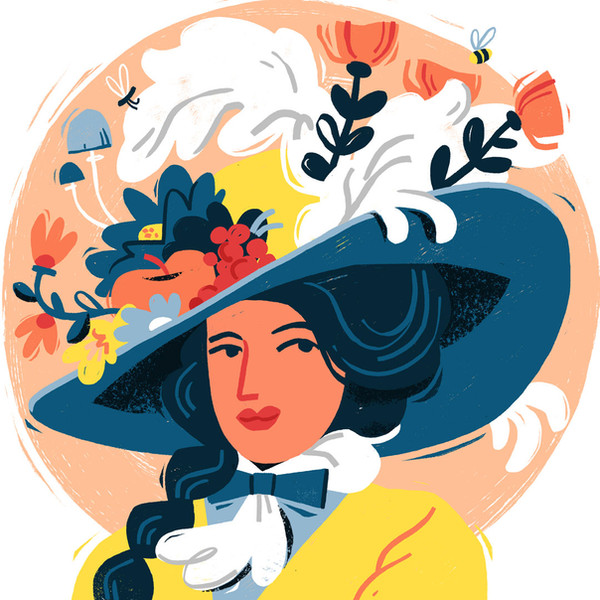 Victorian lady with hat illustration