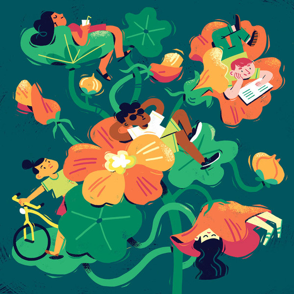 people relaxing editorial illustration-