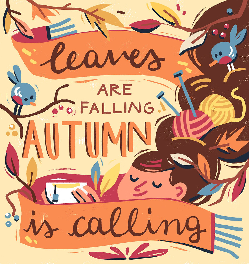 autumn is calling quote poster illustration susanna rumiz