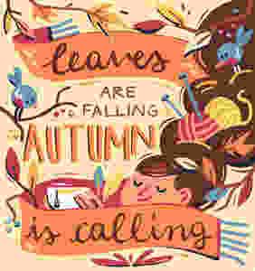 autumn is calling quote poster illustration susanna rumiz