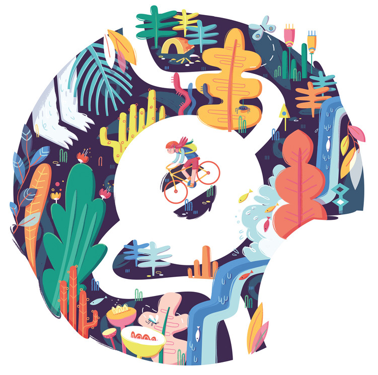 cycling nature illustration logo design