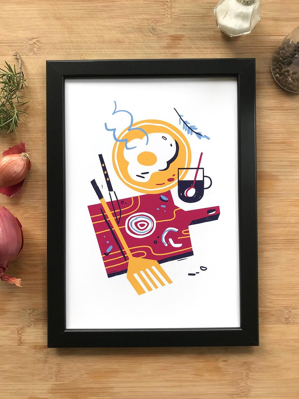 print kitchen and food illustration