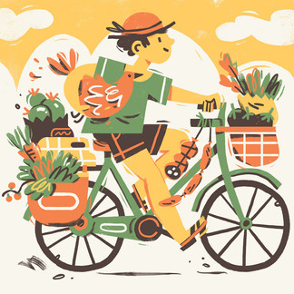 Coming back from the farmer's market