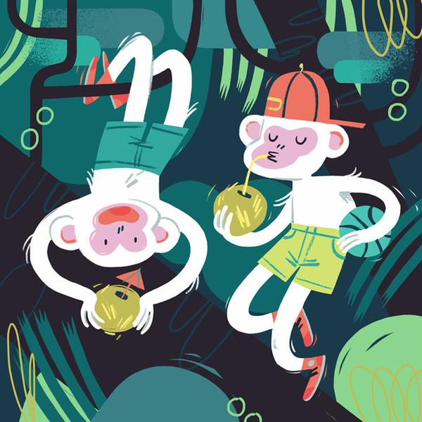 monkeys children's illustration