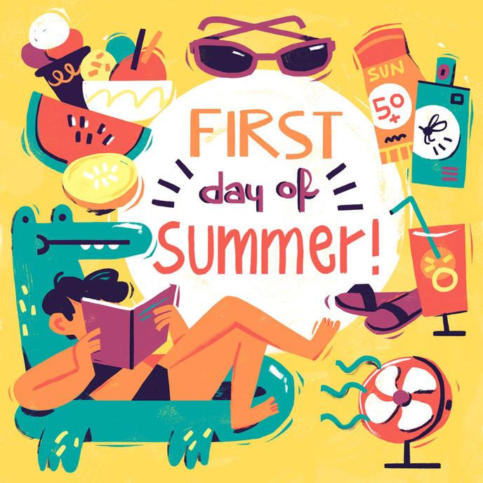 summer editorial magazine cover illustration