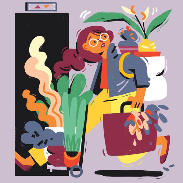 girl moving potted plants illustration