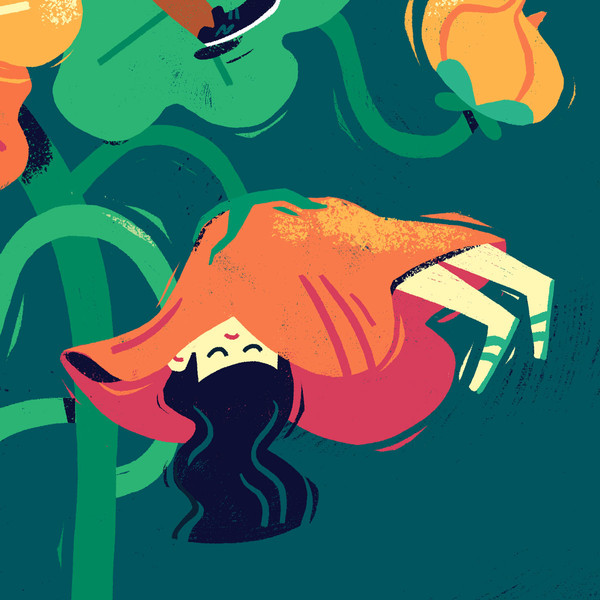girl sleeping in flower illustration