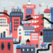 playful city view illustration
