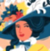 Victorian-lady-with-giant-decorated-hat-