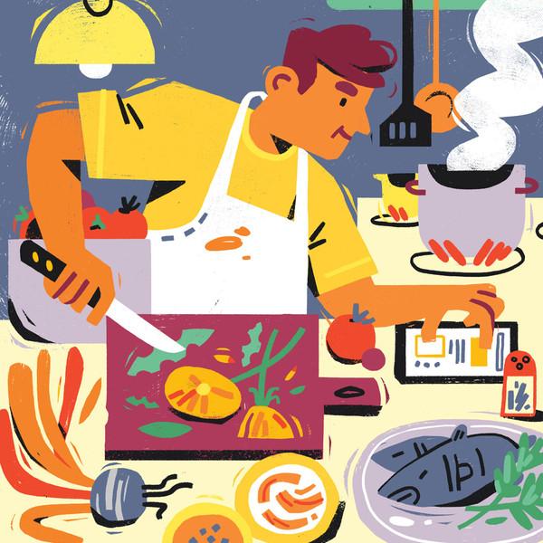 man cooking edible plants illustration