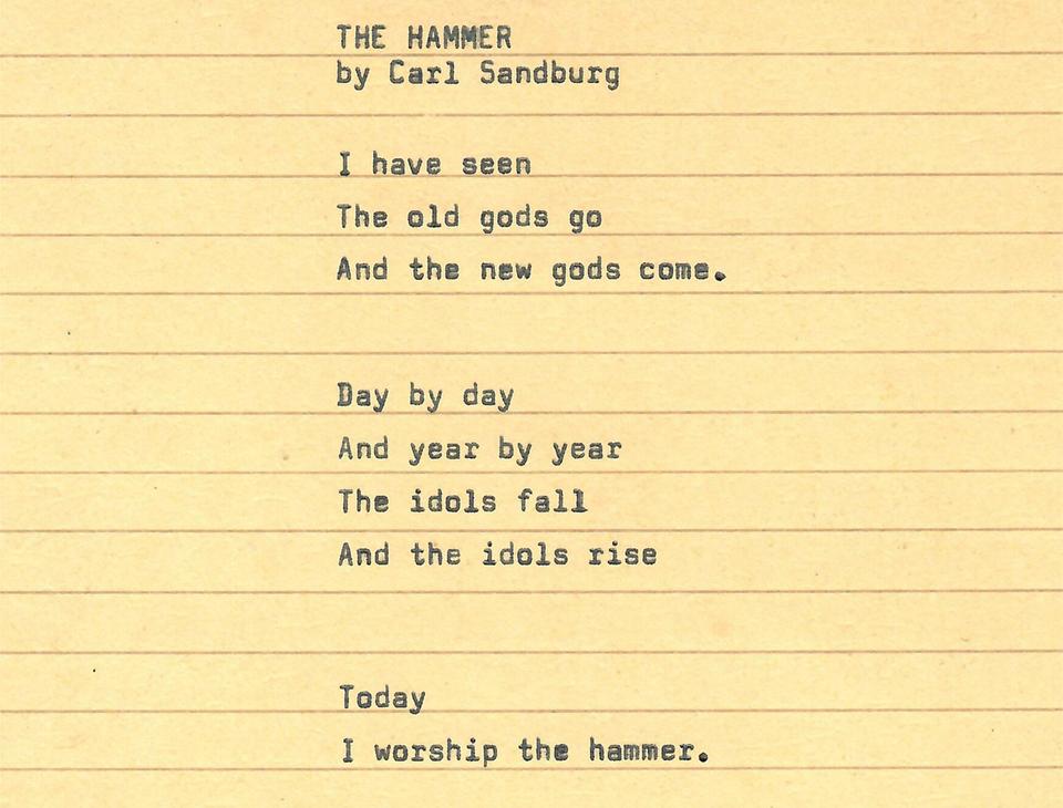Poem The Hammer by Carl Sandburg