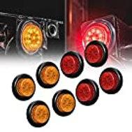 "4pc 2"" Amber+Red Round Trailer Lights"