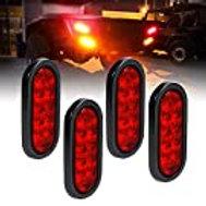 "2pc 6"" Red Oval LED Trailer Tail Light Kit"